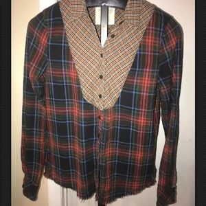 We the Free People Plaid Raw Edge Button Top Sz M